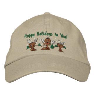 Holiday Reindeer Greetings Embroidered Baseball Caps