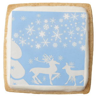 Holiday Reindeer in Blue Square Shortbread Cookie