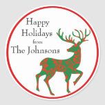 """Holiday Reindeer Personalized Classic Round Sticker<br><div class=""""desc"""">A red and green patterned reindeer personalized with your holiday greeting. Edit any of the sample text shown in the design template for custom stickers to use on your holiday packages,  baked goods and more.</div>"""