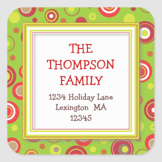 Holiday Retro Red & Green Polka Dot Address Stickers