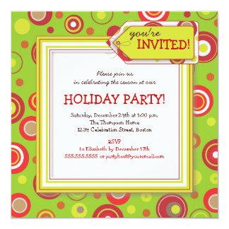 Holiday Retro Red & Green Polka Dot Party Card