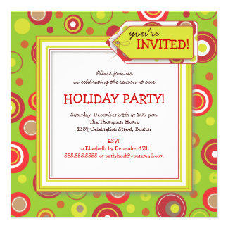 Holiday Retro Red & Green Polka Dot Party Custom Invitations