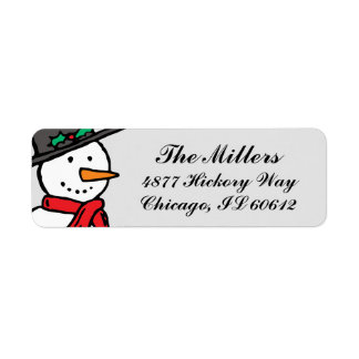 Holiday Return Address Labels: Snowman Gray Label