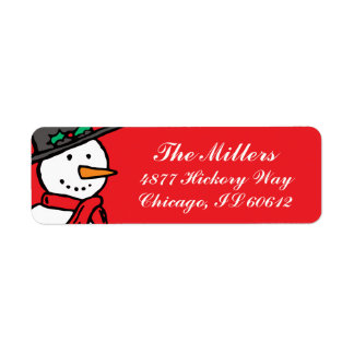Holiday Return Address Labels: Snowman Red Label