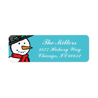 Holiday Return Address Labels: Snowman Turquoise Label