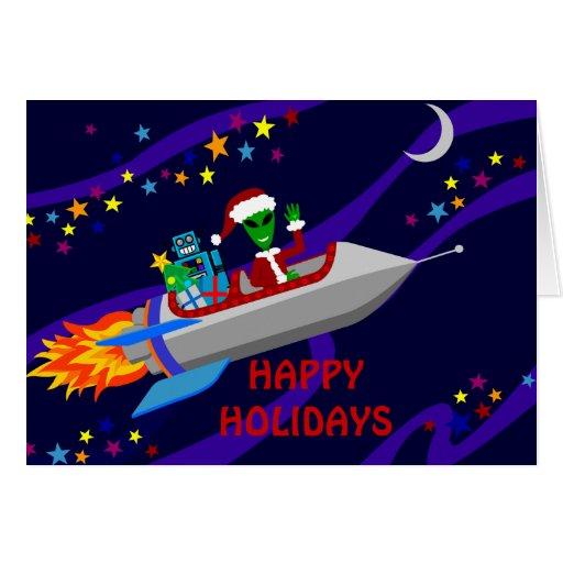 Holiday  Rocket Greeting Card