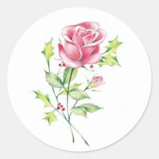 holiday rose sticker