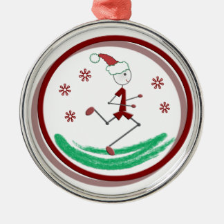 Holiday Runner Guy - (1 side) Round Metal Christmas Ornament