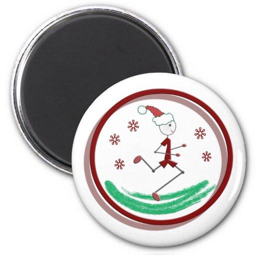 Holiday Runner Guy 2 Inch Round Magnet