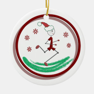 Holiday Runner Guy - front and back Double-Sided Ceramic Round Christmas Ornament