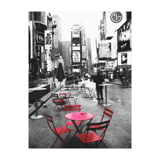 HOLIDAY SALE Times Square Black White Red Canvas