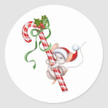 "Holiday Santa Mouse Stickers<br><div class=""desc"">Holiday sticker shown with a festive candy cane Santa mouse print.  