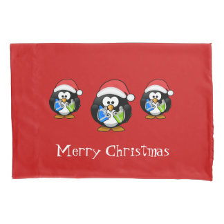 Holiday Santa Penguins Pillow Case