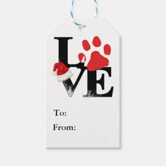 Holiday Santapaws -Paw Print in Christmas LOVE Gift Tags