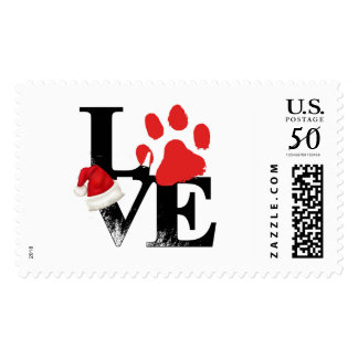 Holiday Santapaws -Paw Print in Christmas LOVE Postage