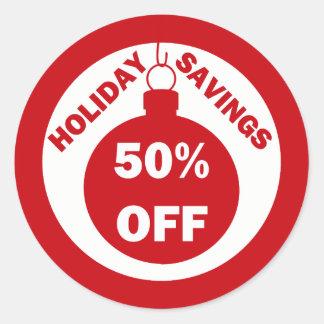 Holiday Savings 50% OFF Classic Round Sticker
