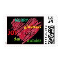 Holiday Sayings Heart Christmas Postage Stamps