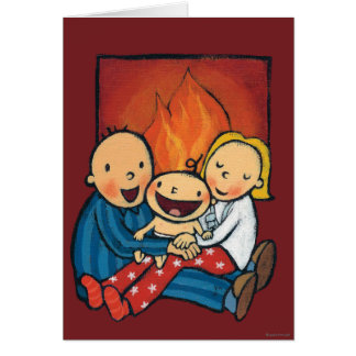Holiday Scene: Family in Front of the Fireplace Card