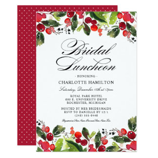 Holiday Season Bridal Luncheon | Christmas Floral Invitation