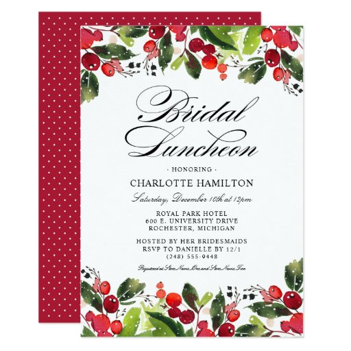 Holiday Season Bridal Luncheon Christmas Floral Invitation