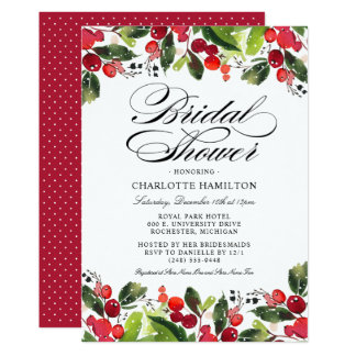Holiday Season Bridal Shower | Christmas Floral Invitation
