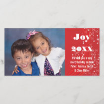 Holiday Season Red/White Snow-Christmas Photo Card