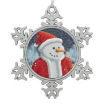 Holiday Season Snowman Snowflake Pewter Christmas Ornament