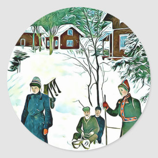 Holiday Season stickers vintage winter landscape