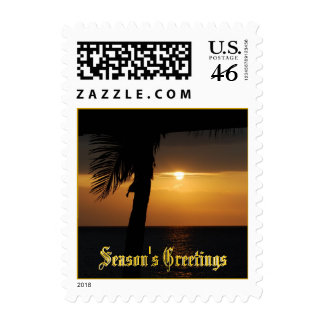 Holiday Season's Greetings Tropical Sunset Postage Stamps