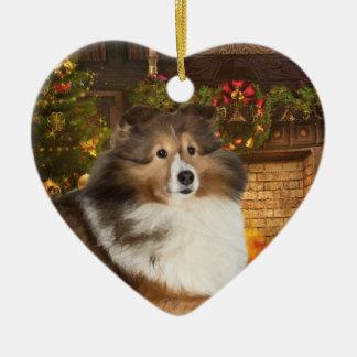 Holiday Sheltie Double-Sided Heart Ceramic Christmas Ornament