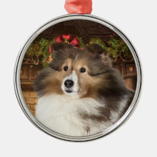 Holiday Sheltie Round Metal Christmas Ornament