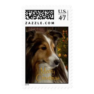 Holiday Sheltie Stamp