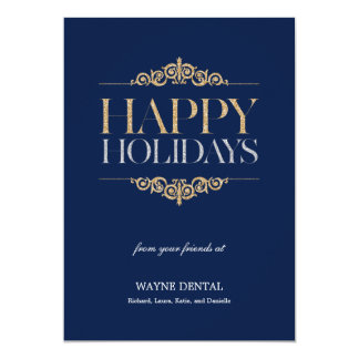 Holiday Shimmer Business Holiday Cards - Navy