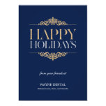 Holiday Shimmer Business Holiday Cards - Navy Personalized Invitations