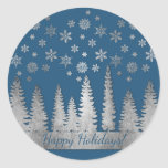 Holiday Silver and Blue Winter Wonderland Classic Round Sticker