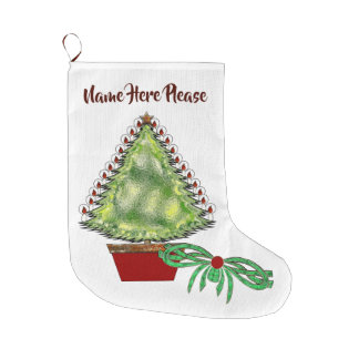 Holiday Silver Bells Large Christmas Stocking