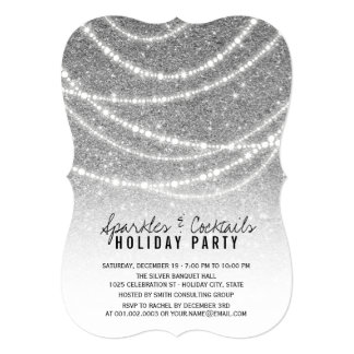 Holiday Silver Glitter Sparkles Chic Party Invite