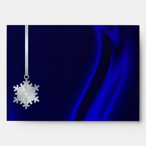 Holiday Silver Snowflake Blue 5x7 Envelope