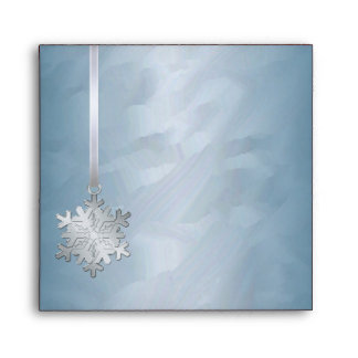 Holiday Silver Snowflake Teal Foil Christmas Envelopes
