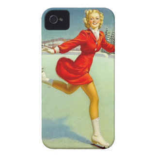 Holiday Skaters Waltz Retro Winter Pinup Girl iPhone 4 Case