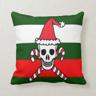 Holiday Skull and Candy Cane Throw Pillow