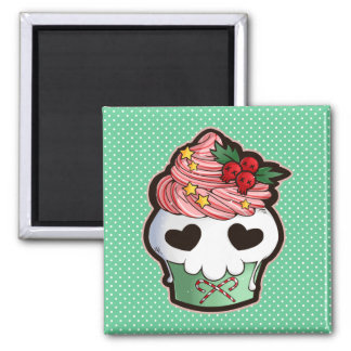 Holiday Skull Cupcake 2 Inch Square Magnet