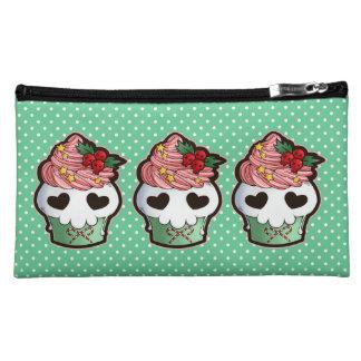 Holiday Skull Cupcake Cosmetic Bags
