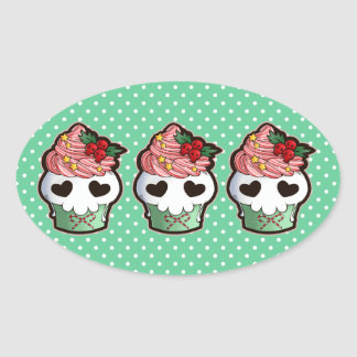 Holiday Skull Cupcake Oval Sticker
