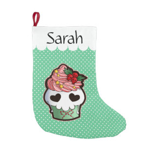 Holiday Skull Cupcake Small Christmas Stocking