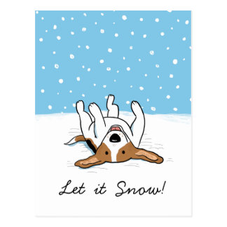 Holiday Snow Beagle with Customizable Text Postcard