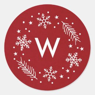 Holiday Snow Classic Round Sticker