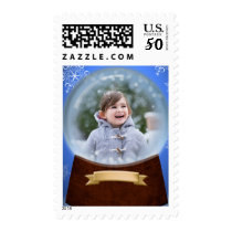 Holiday Snow Glass Photo Postage