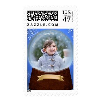 Holiday Snow Glass Photo Postage Stamp
