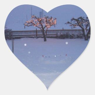 Holiday Snow Heart Sticker